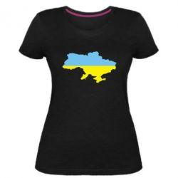Женская стрейчевая футболка Украина - FatLine