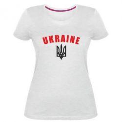Жіноча стрейчева футболка Ukraine + герб