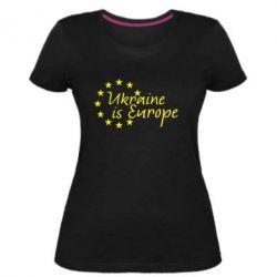 Жіноча стрейчева футболка Ukraine in Europe