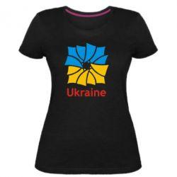 Женская стрейчевая футболка Ukraine квадратний прапор - FatLine