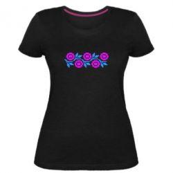 Женская стрейчевая футболка Українська вишивка - FatLine