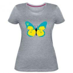 Женская стрейчевая футболка Український метелик