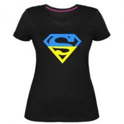Женская стрейчевая футболка Український Superman - FatLine
