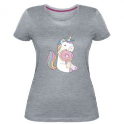 Женская стрейчевая футболка Unicorn and cake