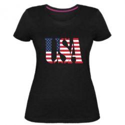 Жіноча стрейчева футболка USA