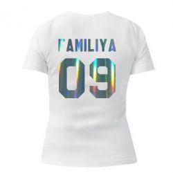 Женская стрейчевая футболка Ваша фамилия и номер голограмма