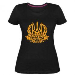 Жіноча стрейчева футболка Вінок з гербом