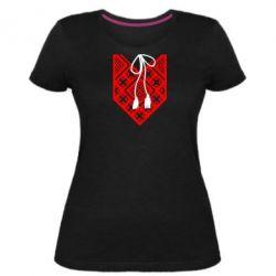 Женская стрейчевая футболка Вишиванка з зав'язкою