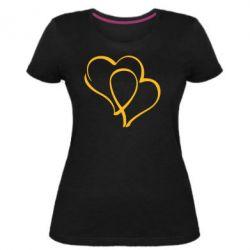 Женская стрейчевая футболка Влюбленные сердца