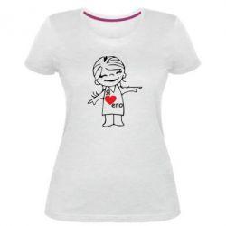 Женская стрейчевая футболка Я люблю его - FatLine