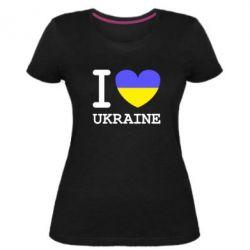 Жіноча стрейчева футболка Я люблю Україну