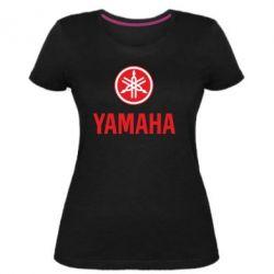 Женская стрейчевая футболка Yamaha Logo(R+W)
