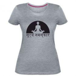 Женская стрейчевая футболка Йога