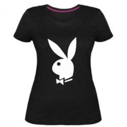 Женская стрейчевая футболка Заяц Playboy - FatLine
