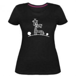 Женская стрейчевая футболка жираф - FatLine