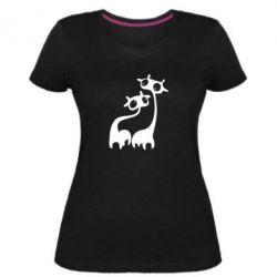 Женская стрейчевая футболка Жирафы