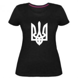 Женская стрейчевая футболка Жирный Герб Украины - FatLine