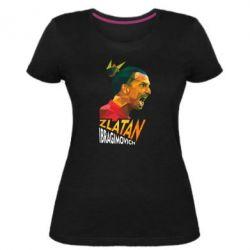 Женская стрейчевая футболка Златан Ибрагимович, полигональный портрет
