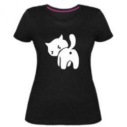 Женская стрейчевая футболка злой котэ