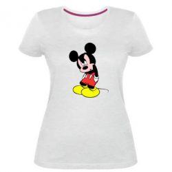 Жіноча стрейчева футболка Злий Міккі Маус