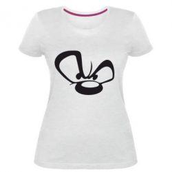 Жіноча стрейчева футболка Злий ведмедик
