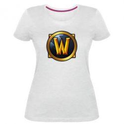 Женская стрейчевая футболка Значок wow