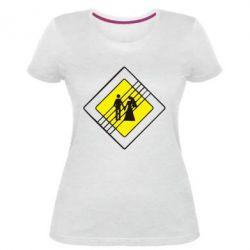 Женская стрейчевая футболка знак свадьбы - FatLine