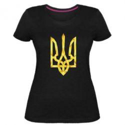 Женская стрейчевая футболка Золотий герб - FatLine