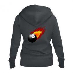 Женская толстовка на молнии Бильярдный шар в огне