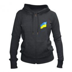 Женская толстовка на молнии Флаг Украины с Гербом