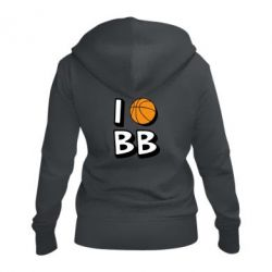Женская толстовка на молнии I love basketball
