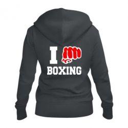 Женская толстовка на молнии I love boxing