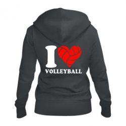 Жіноча толстовка на блискавці I love volleyball