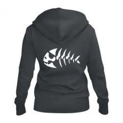 Женская толстовка на молнии скелет рыбки