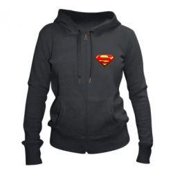 Женская толстовка на молнии Superman Logo