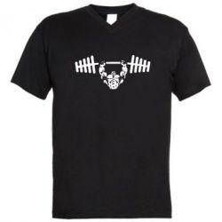 Мужская футболка  с V-образным вырезом Жим штанги - FatLine