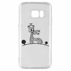 Чехол для Samsung S7 жираф - FatLine