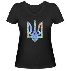 Жіноча футболка з V-подібним вирізом Жирный Герб України голограма