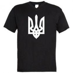 Мужская футболка  с V-образным вырезом Жирный Герб Украины
