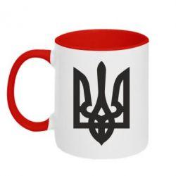 Кружка двухцветная Жирный Герб Украины - FatLine