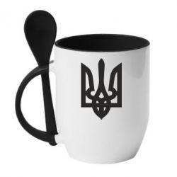 Кружка с керамической ложкой Жирный Герб Украины - FatLine