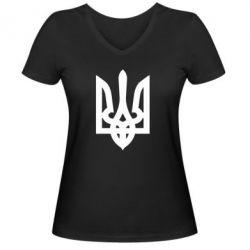 Женская футболка с V-образным вырезом Жирный Герб Украины
