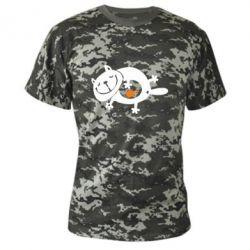 Камуфляжна футболка Жирний кіт - FatLine