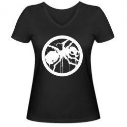 Женская футболка с V-образным вырезом Жирный муравей