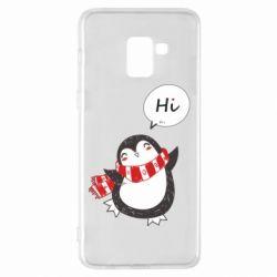 Чохол для Samsung A8+ 2018 Зимовий пингвинчик