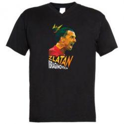 Мужская футболка  с V-образным вырезом Златан Ибрагимович, полигональный портрет