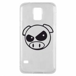 Чехол для Samsung S5 Злая свинка