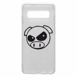 Чехол для Samsung S10 Злая свинка