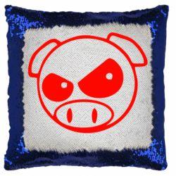 Подушка-хамелеон Злая свинка