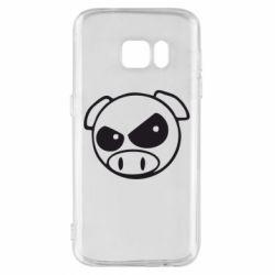Чехол для Samsung S7 Злая свинка